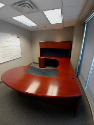 Krug Wood Veneer U Shape Suite Cherry Kitchener Waterloo Used Office Furniture Guelph